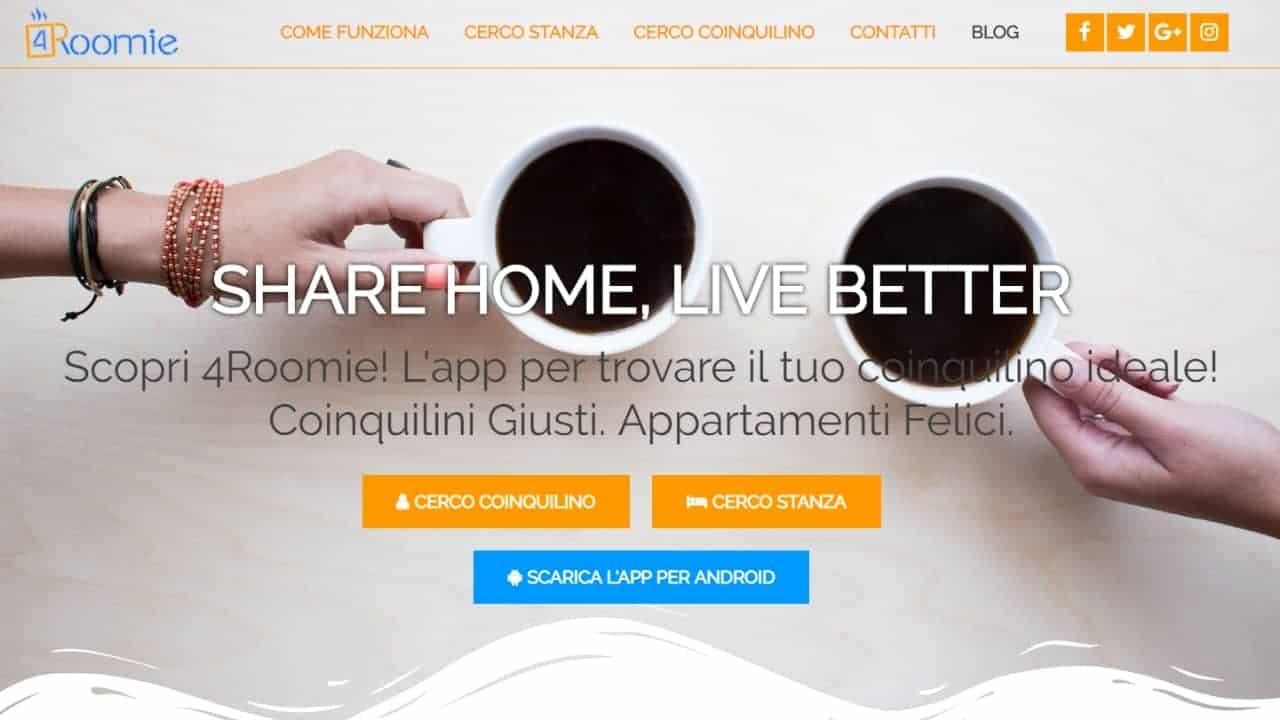 4roomie - sito web realizzato da sfumaturedigitali.com